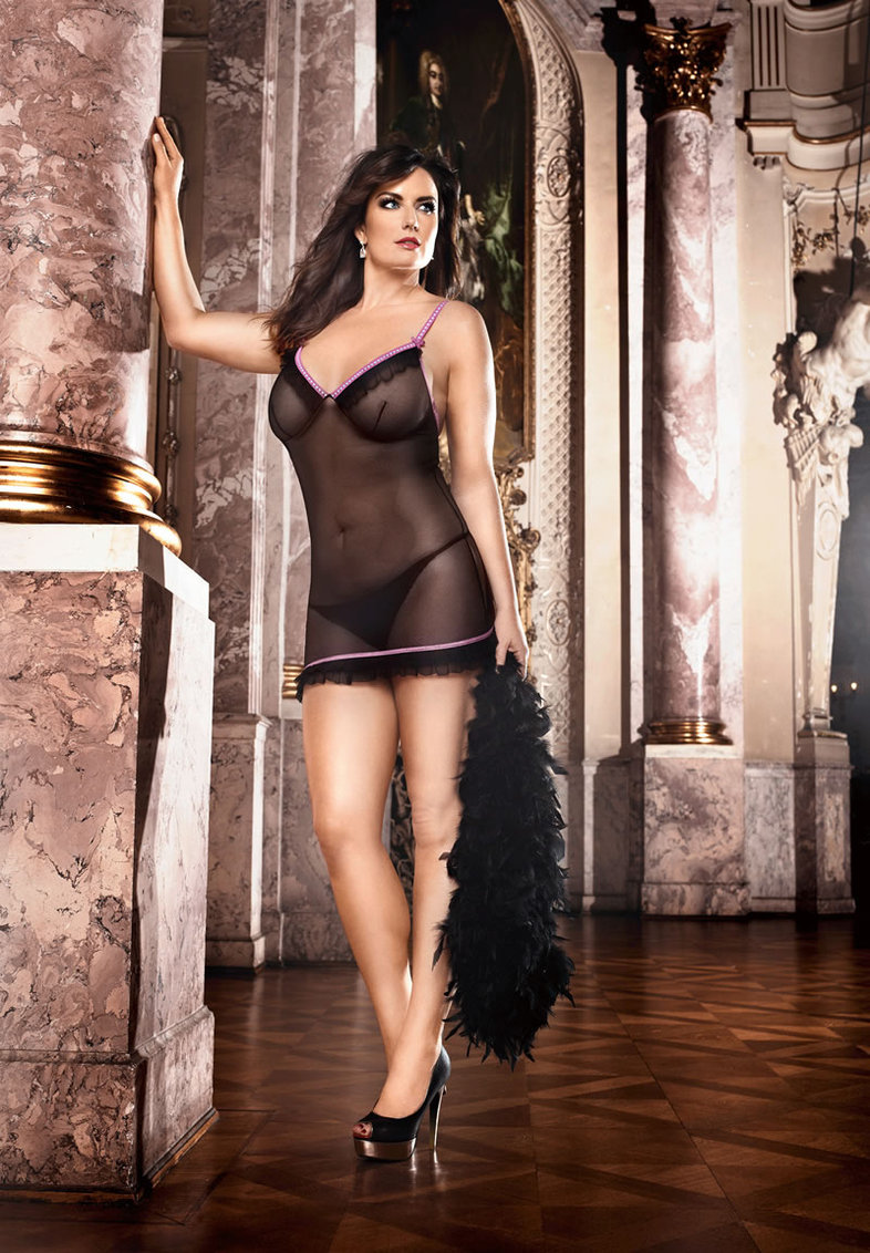 Ruffle Mesh Nightie Black/pink- D (disc)