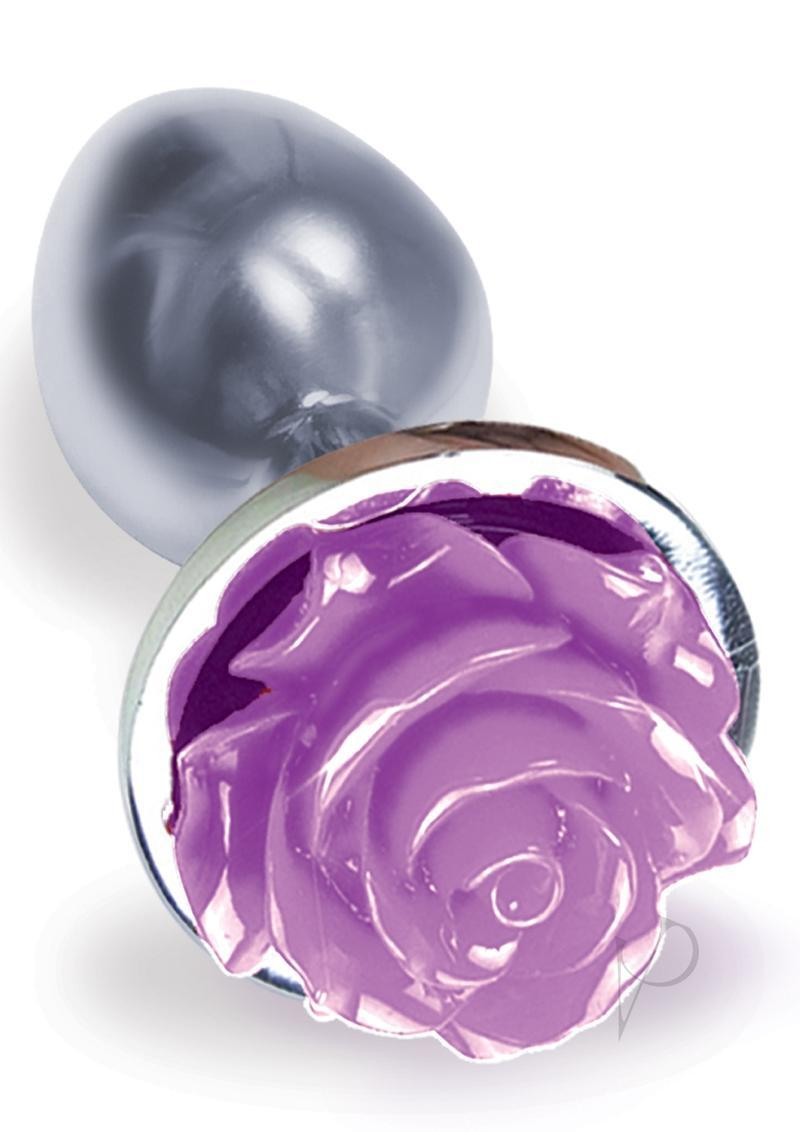 The 9`s - The Silver Starter Rose Stainless Steel Butt Plug - Purple